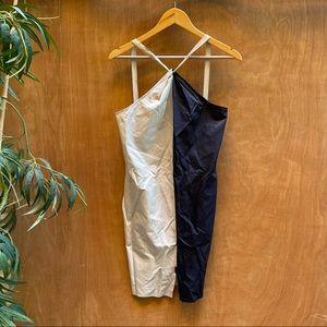 Vera wang lavender label color block halter dress
